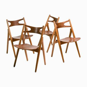 Model CH-29 Oak & Teak Sawbuck Chairs by Hans J. Wegner for Andreas Tuck, 1950s, Set of 4