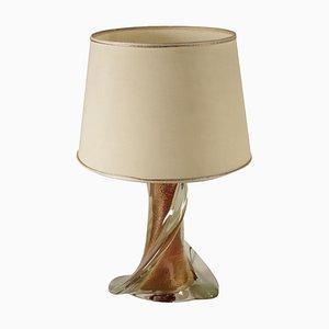 Lámpara de mesa Torchon italiana vintage de cristal de Murano, años 80