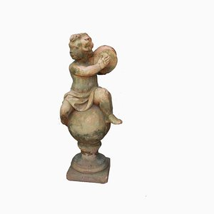 Antique French Terracotta Garden Child Sculpture