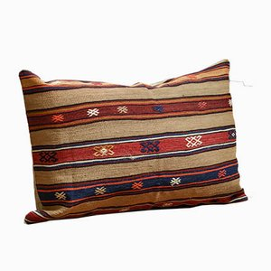 Large Striped Wool Outdoor Kilim Pillow Cover by Zencef