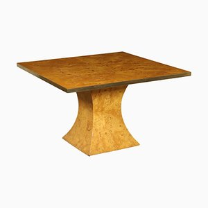 Vintage Italian Burl Walnut Veneer & Brass Table by Willy Rizzo, 1970s