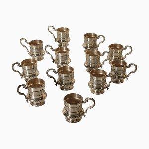 Silberne italienische Mid-Century Tassen von IMA di Guerci & C, 1950er, 12er Set