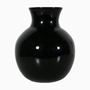Schwarze Vase aus geblasenem Glas, 1980er