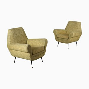 Vintage Italian Velvet Sofa and Armchairs, 1950s, Set of 3