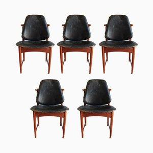 Chaises de Salle à Manger en Teck, Laiton et Cuir par Arne Hovmand-Olsen pour Onsild, 1960s, Set de 5