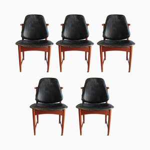 Teak, Brass & Leather Dining Chairs by Arne Hovmand-Olsen for Onsild, 1960s, Set of 5