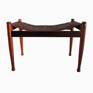 Danish Rosewood & Leather Safari Footstool by Erik Wørts for Niels Eilersen, 1960s