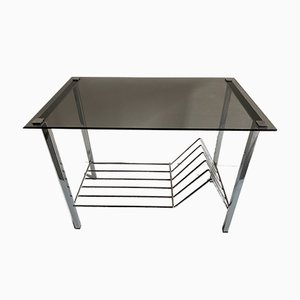 French Aluminium and Smoked Glass Side Table, 1970s