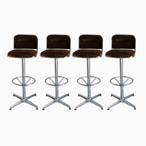 Danish Bar Stool with Ball Bearings, 1970s, Set of 4