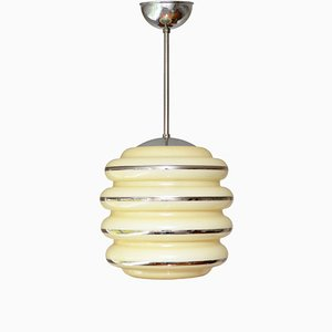 Minimalistische Deckenlampe aus Opalglas im skandinavischen Design, 1950er