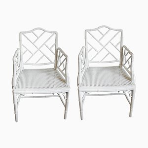 Mid-Century Chippendale Faux Bamboo Chinoiserie Armchairs, Set of 2