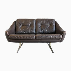 Danish Modern Leather 2-Seater Sofa with Chrome-Plated Shaker Legs, 1970s
