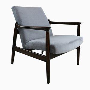 Vintage Grey Velvet Armchair by Edmund Homa, 1970s