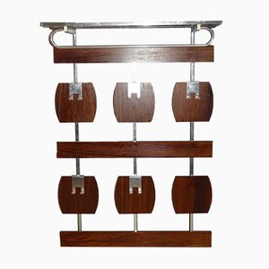 Teak & Chrome Wall Mounted Coat Rack, 1960s