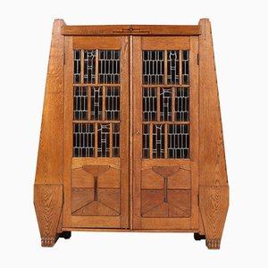 Antique Art Deco Oak School Bookcase with Stained Glass by Hildo Krop