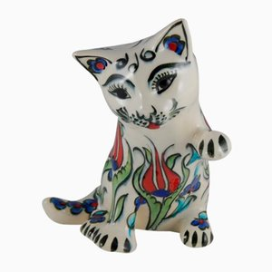 Hand-Painted Ceramic Cat Figurine With Tulip Pattern, 1970s