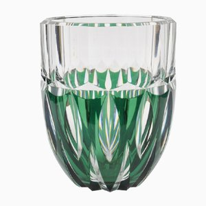 Hand-Cut Green Glass Vase from Val Saint Lambert, 1950s