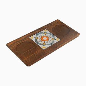 Juego de posavasos turco vintage de cerámica y pino, años 70
