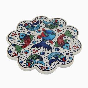 Turkish Handmade Ceramic Coaster, 1970s