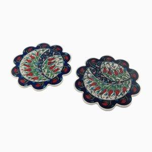 Posavasos turcos florales de cerámica hechos a mano, años 70. Juego de 2