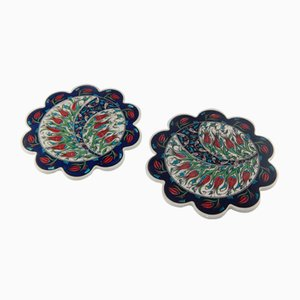 Turkish Handmade Floral Ceramic Coasters, 1970s, Set of 2