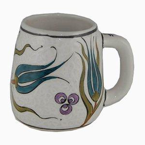 Taza de café vintage pintada a mano, años 70
