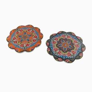 Posavasos turcos vintage de cerámica, años 70. Juego de 2