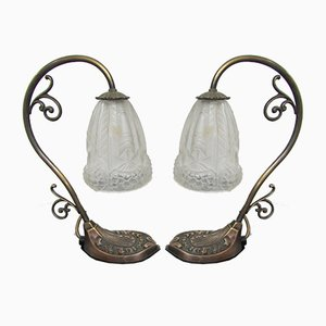 Bronze Art Deco Desk Lamps, 1940s, Set of 2