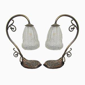 Lámparas de escritorio Art Déco de bronce, años 40. Juego de 2