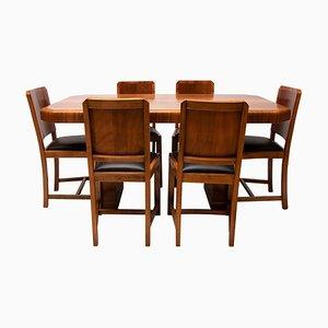 Art Déco Esstisch aus Nussholz & 6 Stühle, 1930er