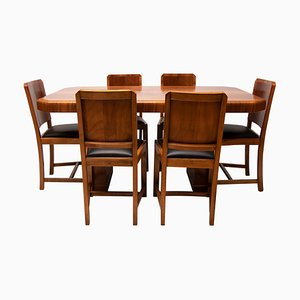 Art Deco Walnut Set with Dining Table and 6 Chairs, 1930s