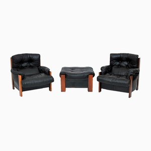 Rosewood Set with 2 Armchairs & Ottoman by Tobia & Afra Scarpa for Maxalto, 1980s