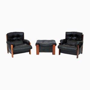 Set aus 2 Sesseln & Fußhocker mit Gestell aus Palisander von Tobia & Afra Scarpa für Maxalto, 1980er