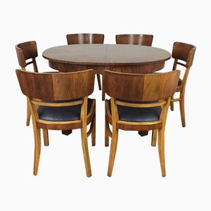 Art Deco Extendable Dining Table & 6 Chairs by Jindřich Halabala for UP Závody, 1930s