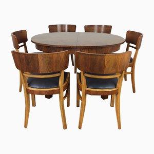 Juego de mesa de comedor extensible y seis sillas Art Déco de Jindřich Halabala para UP Závody, años 30