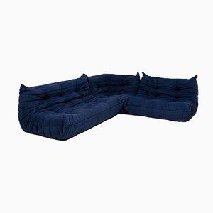 Juego de sofás Togo modular de tres piezas en azul de Michel Ducaroy para Ligne Roset, años 80
