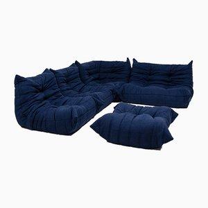 Blaues modulares Togo Sofa-Set von Michel Ducaroy für Ligne Roset, 1980er, 5er Set