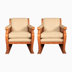Art Deco Walnut & Leather Armchairs, 1930s, Set of 2