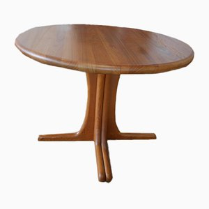 Round Teak Extendable Dining Table, 1970s