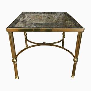 Mesa auxiliar estilo Regency vintage de latón macizo, años 70