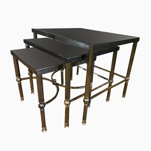 Vintage Regency Style Solid Brass Nesting Tables, 1950s, Set of 3
