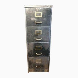 Industrieller Vintage Aktenschrank aus gebürstetem Metall mit 4 Schubladen, 1940er