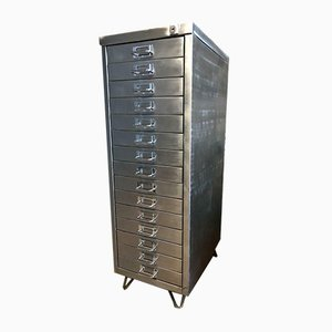 Industrial Stripped Metal 15 Drawer Filing Cabinet, 1980s
