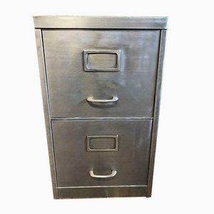 Vintage 2 Drawer Stripped Metal Filing Cabinet, 1960s