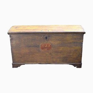 Antique Oak Swedish Wedding Trunk 1850s