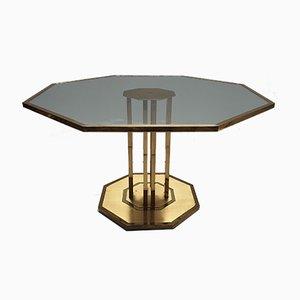 Mesa de centro francesa vintage octogonal de latón y vidrio, años 70
