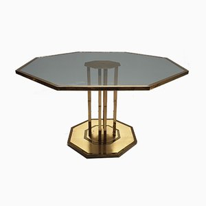 Vintage French Brass & Glass Octagonal Coffee Table, 1970s