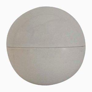 Lámpara esférica de cerámica y vidrio opalino, años 70