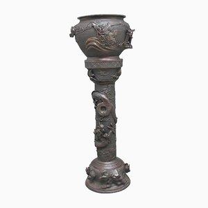 Amphore sur Colonne Antique en Bronze, Japon
