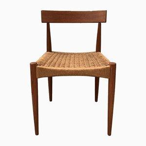 Dänische Esszimmerstühle mit Gestell aus Teak & Flechtsitz von Arne Hovmand-Olsen für Mogens Kold, 1960er, 4er Set